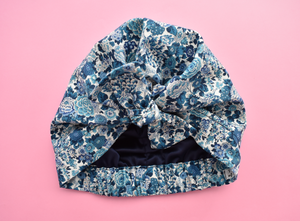Ladies Turban Hat -China Blue and White Floral Liberty of London print - Tot Knots of Brighton