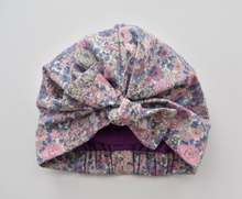 Ladies Turban Hat - Pink and Blue Winter Rose Floral Liberty of London - Tot Knots of Brighton