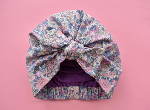 Ladies Turban Hat - PInk and Blue Winter Rose Floral Liberty of London