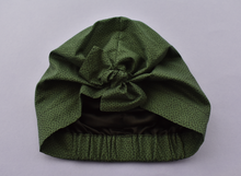 Ladies Turban Hat - Green and Black Marco Liberty of London print - Tot Knots of Brighton