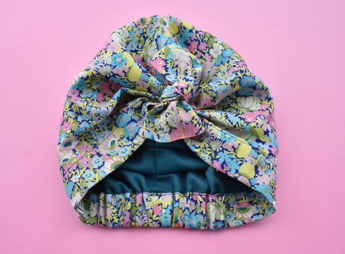 Little Land Girl & Baby Hat - Bright Floral Thorpe Print - Tot Knots of Brighton