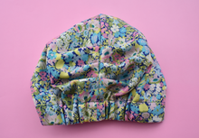 Ladies Turban Hat - Bright Pink and Blue Thorpe Floral Liberty of London print - Tot Knots of Brighton
