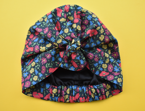 Ladies Turban Hat - Winter Poppy and Daisy Liberty of London print - Tot Knots of Brighton