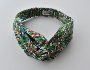 Kids Tot Knot Twisted hairband - Green Reflections Liberty of London print - Tot Knots of Brighton