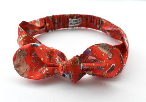 Ladies Tot Knot hairband - Liberty of London Christmas Animal print - Tot Knots of Brighton