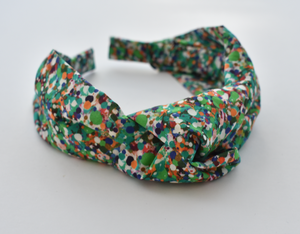 Ladies Tot Knot Alice band - Liberty of London Green Spotty print - Tot Knots of Brighton