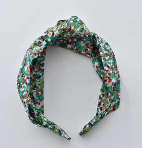Kids Tot Knot Alice band - Liberty of London Green Spotty print - Tot Knots of Brighton