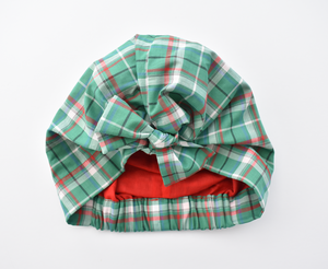Little Land Girl Christmas Hat - Liberty of London Green Tartan print - Tot Knots of Brighton