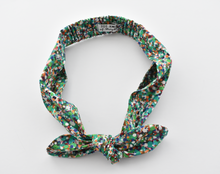 Kids Christmas Tot Knot hairband - Liberty of London Green Spotty Floral - Tot Knots of Brighton