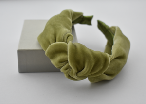 Classic Knot headband - Lime Green Silk Velvet - Tot Knots of Brighton