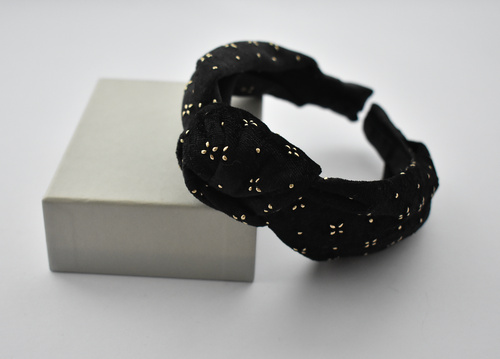 Ladies Tot Knot Alice band - Black Velvet studded with geometric gold metallic - Tot Knots of Brighton