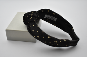 Ladies Tot Knot Alice band - Black Velvet studded with geometric gold metallic-Adult hairband-Tot Knots of Brighton