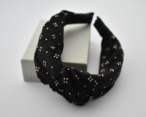 Ladies Tot Knot Alice band - Black Velvet studded with geometric gold metallic