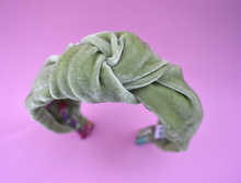 Silk-Velvet Alice band - Pistachio and Floral Liberty print - Tot Knots of Brighton