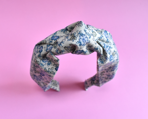 Tot Knot Alice band - Blue Floral Liberty print - Tot Knots of Brighton