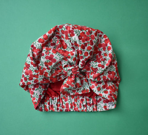 100% silk lined Turban & Head wrap Wiltshire red berry print-Adult Turban Hat-Tot Knots of Brighton