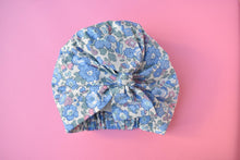 100% silk lined Turban & Head wrap Blue and Pink Liberty of London Betsy print - Tot Knots of Brighton