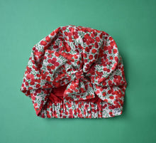 Little Land Girl Baby Hat - Liberty of London Wiltshire Red and White Berries - Tot Knots of Brighton
