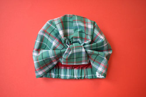 100% silk lined Turban & Head wrap in Green Tartan - Tot Knots of Brighton