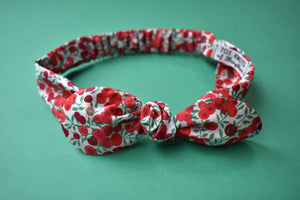 Tot Knot hairband- Liberty of London Wiltshire Red and White Berries - Tot Knots of Brighton