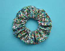 Green and Multicolour Spotty Reflections Scrunchie - Tot Knots of Brighton