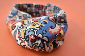 Multicolour Graphic Liberty of London  - Twisted Turban hairband and neck scarf - Tot Knots of Brighton