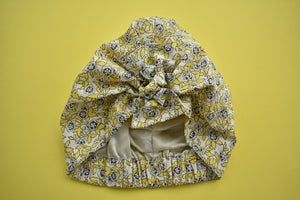 100% silk lined Turban & Head wrap Yellow Floral Liberty of London - Tot Knots of Brighton