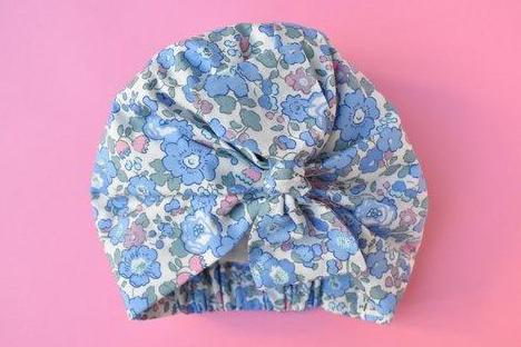 Little Land Girl Baby Hat - Betsy Blue and Pink Floral - Tot Knots of Brighton