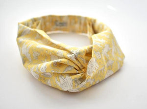 Kids Tot Knot Twisted hairband - Liberty of London Yellow Midnight Mischief Animal print - Tot Knots of Brighton