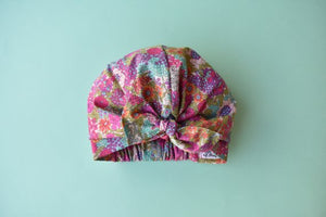 Little Land Girl Baby Hat - Ciara Foxglove Floral Liberty print - Tot Knots of Brighton