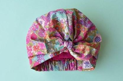 Little Land Girl Baby Hat - Pink and Green Foxglove Floral - Tot Knots of Brighton