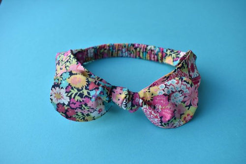 Ladies Tot Knot hairband- Pink, Blue and Black Florals - Tot Knots of Brighton