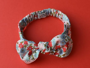 Ladies Tot Knot hairband- Red and Blue Poppies and Daisies - Tot Knots of Brighton