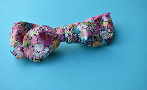Tot Knot hairband- Pink, Blue and Black Florals - Tot Knots of Brighton