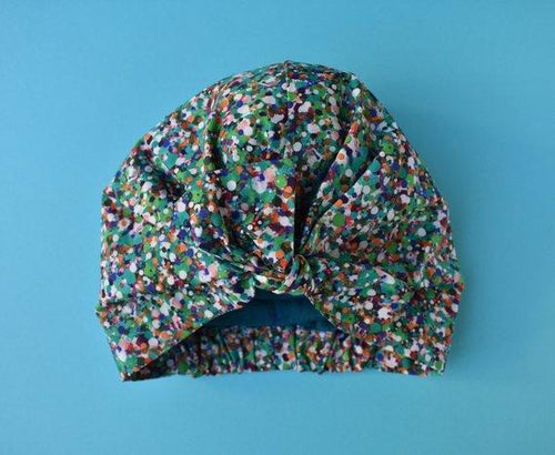 Little Land Girl Baby Hat - Green and multicoloured spots - Tot Knots of Brighton