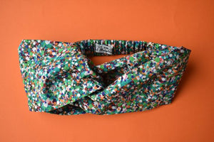 Ladies Twisted Turban hairband and neck scarf - Liberty of London Green Reflections - Tot Knots of Brighton