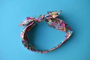 Tot Knot hairband - Pink, Blue and Black Florals - Tot Knots of Brighton