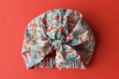Little Land Girl Baby Hat - Red and Blue Floral - Tot Knots of Brighton
