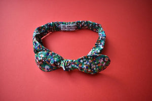 Ladies Tot Knot hairband- Green Spots - Tot Knots of Brighton