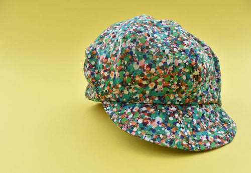 News boy cap - Green Spotty Print - unisex - Tot Knots of Brighton