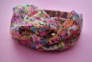 Pink and Blue Floral Twisted Turban hairband and neck scarf - Tot Knots of Brighton