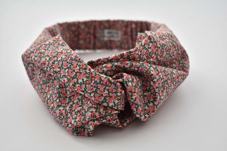 Twisted Turban Headband - Liberty of London Pink & Orange Pepper print