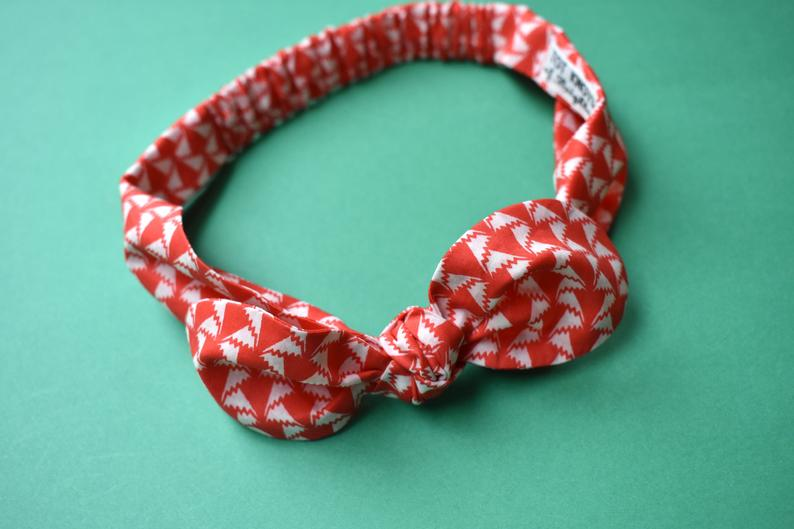 Ladies Tot Knot hairband - Red and White Liberty of London Jonathan print - Tot Knots of Brighton