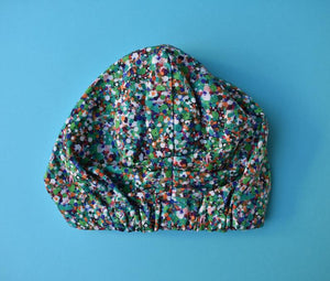 100% silk lined Turban & sleeping cap - Green Spotty Reflections - Tot Knots of Brighton
