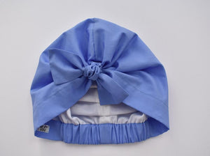 100% silk lined Turban & sleeping cap in Blue Cornflower Liberty of London - Tot Knots of Brighton
