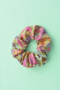 Bright Foxglove Floral Scrunchie-Hair accessory-Tot Knots of Brighton