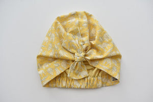 Ladies Turban Hat - Liberty of London Yellow Midnight Mischief Animal print - Tot Knots of Brighton