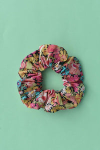 Bright Pink Floral Scrunchie - Tot Knots of Brighton