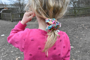 Bright Pink Floral Scrunchie-Hair accessory-Tot Knots of Brighton