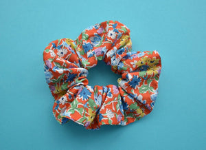 Californian Red Floral Scrunchie - Tot Knots of Brighton